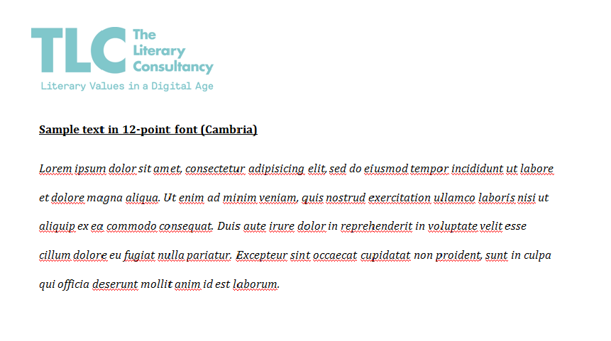 TLC sample formatted text - The Literary Consultancy