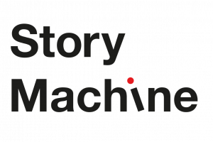 Story Machine typographic logo in black and red